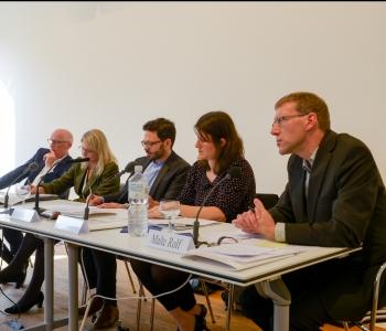 Photo: Bernd Greiner, Elke Seefried, Frank Reichherzer, Sybille Marti, Malte Rolf  (v.l.n.r.), 51. Deutscher Historikertag in Hamburg 2016, by Hamburger Institut für Sozialforschung, © Bodo DretzkeHIS, © Bodo Dretzke